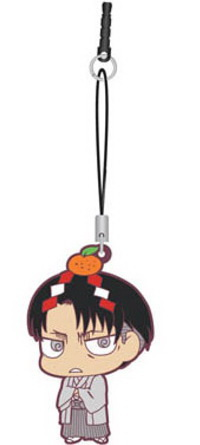 main photo of Shingeki no Kyojin Chimi Chara Rubber Strap: Levi New Year Ver.