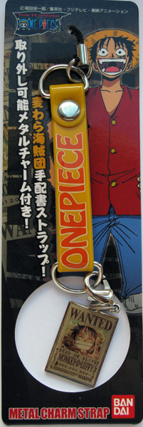 main photo of One Pece WANTED Poster Metal Charm Strap: Monkey D. Luffy