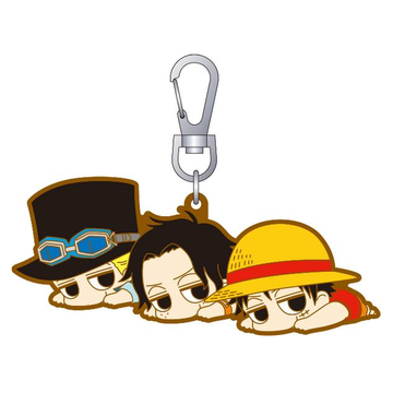 main photo of One Piece Darun Rubber Keychain: Monkey D. Luffy, Portgas D. Ace & Sabo