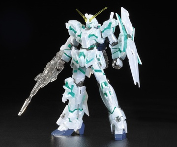 main photo of HGUC RX-0 Unicorn Gundam [Destroy mode] Pearl Clear Green Frame ver.